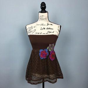 Anthropologie Judith March Boho Crochet Flower Top
